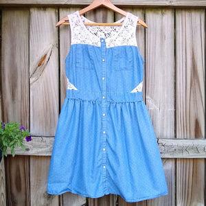 Monteau Denim & Lace Polka Dot Sleeveless Dress